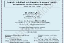 """Evento """"..si tratta di intolleranza o di reattività individuale?"""" – 10 ottobre 2015 Giovinazzo (BA)"""